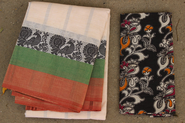 Off White Cotton Saree with contrast Woven Border. TCB-KC70-KN1