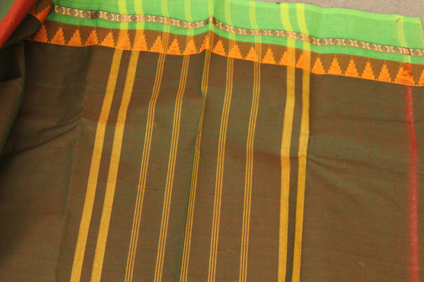 Green Cotton Saree with contrast Woven Border. TCB-KC71-KN1