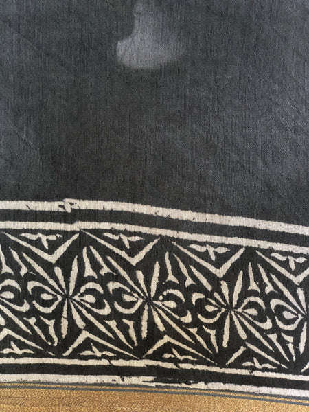 | Love | Grey Hand Block printed Chanderi Saree.