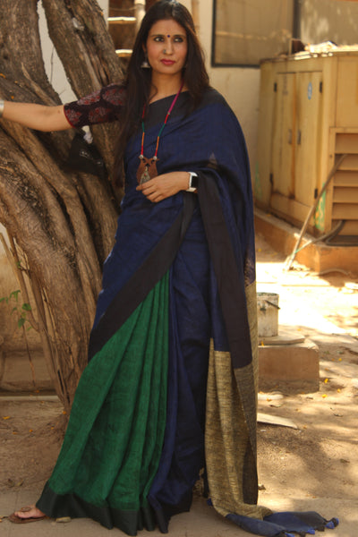 Blue and Green linen saree with gicha palla. TCB-GI-RI