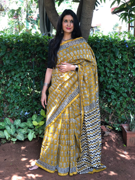 | Mustard Fields | Mustard Hand Block printed Chanderi Saree.