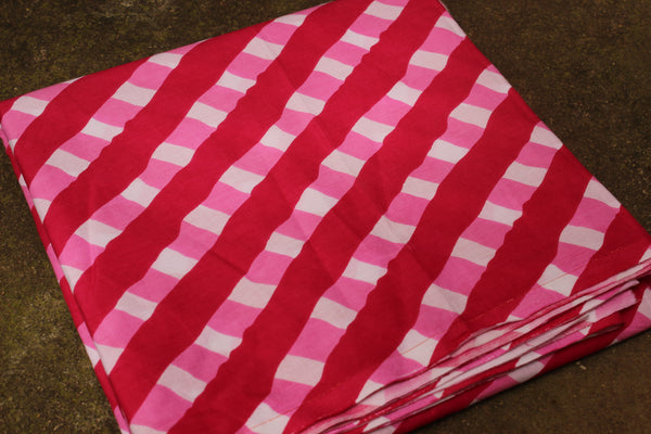 Pink Cotton hand block printed lehriya checked fabric. TCB-JP-LEHP