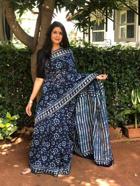 | Ruhi | Indigo Hand Block printed Chanderi Saree.