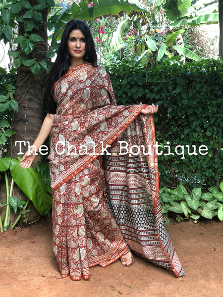 | Holiday Vibes | Red  Hand Block printed Chanderi Saree.