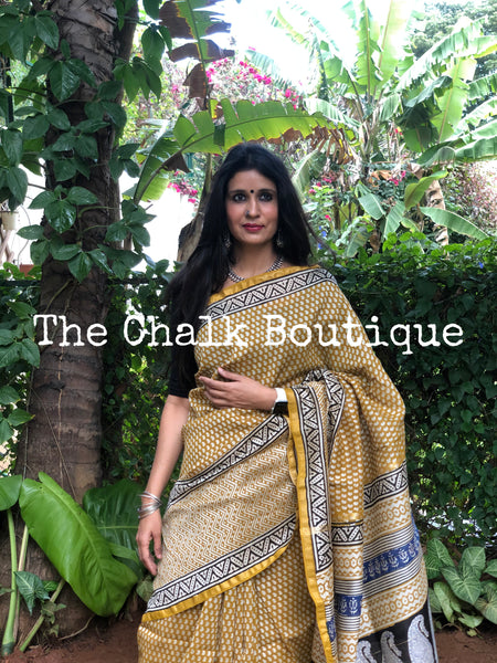 |Sweet Vibes | Mustard Hand Block printed Chanderi Saree.