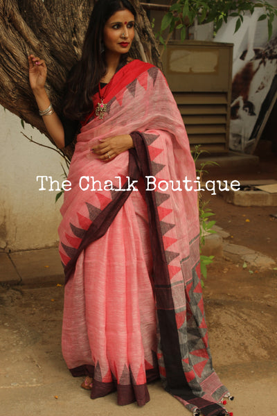 Handwoven Khadi Linen Saree With Temple Border . NF-LM2-C4