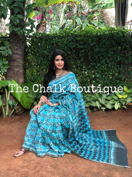 | Gin and Tonic | Blue Hand Block printed Chanderi Saree.