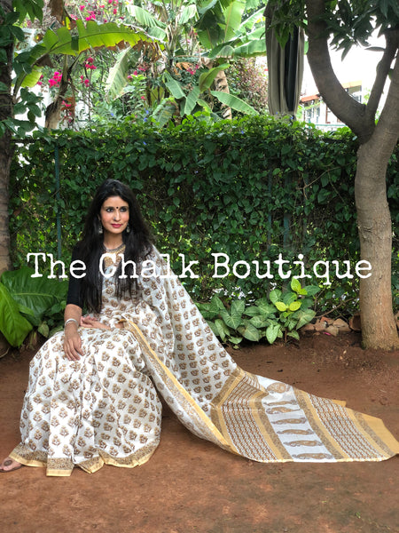 | Ginger Ale | Off White Hand Block printed Chanderi Saree.