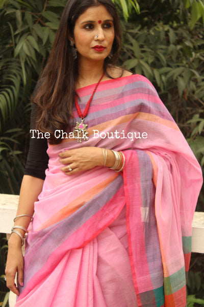 Pink Cotton Saree With Multicoloured Border And Stripes Palla NF-KC11-C4