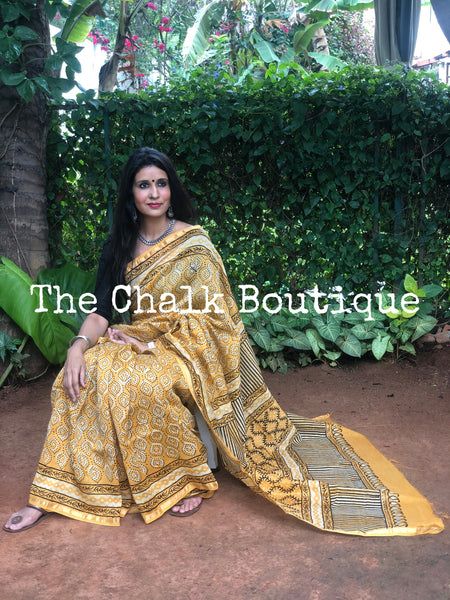 | Yellow Dots | Yellow Hand Block printed Chanderi Saree.