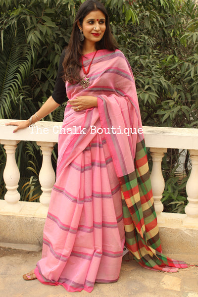 Pink Stripes Cotton Saree with multicoloured Border and checked palla NF-KC10-C4