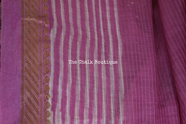 | Bubble gum | Pink Maheshwari silk hand block printed saree.