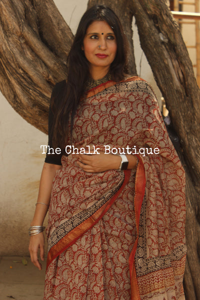 Red Maheshwari silk hand block printed saree.