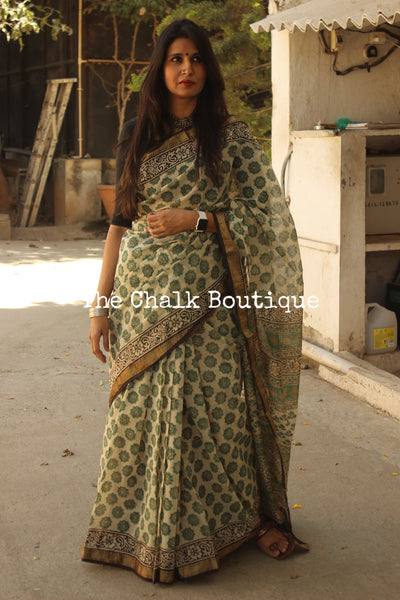 Beige with Green Maheshwari silk hand block printed saree.