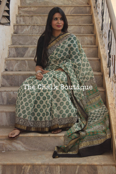 Beige with Green Maheshwari silk hand block printed saree. TCB-MH4-SB1