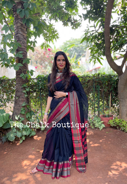 | Tinkling Bells| Black Soft Cotton Saree With Contrast Broad Temple Style Border.