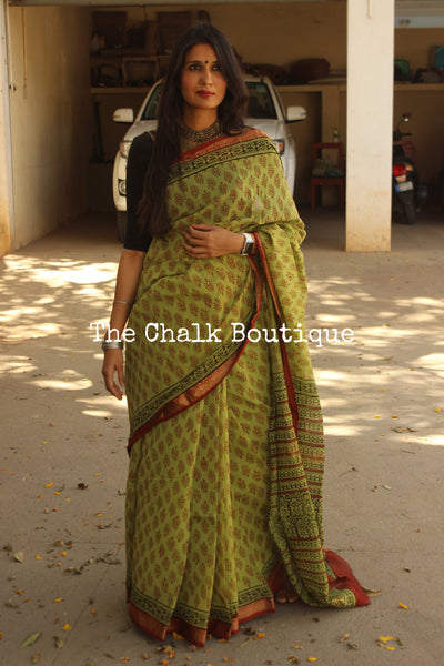| Beyond the Forest | Green Maheshwari silk hand block printed saree.