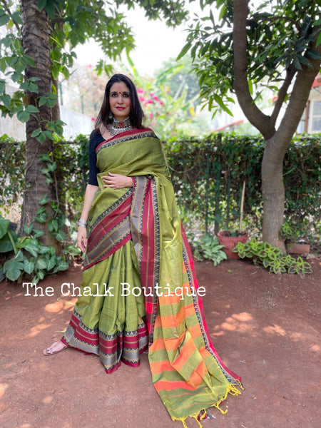 | Henna | Green Soft Cotton Saree With Contrast Broad Temple Style Border.