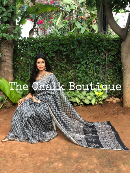 | Been There | Grey Hand Block printed Chanderi Saree.