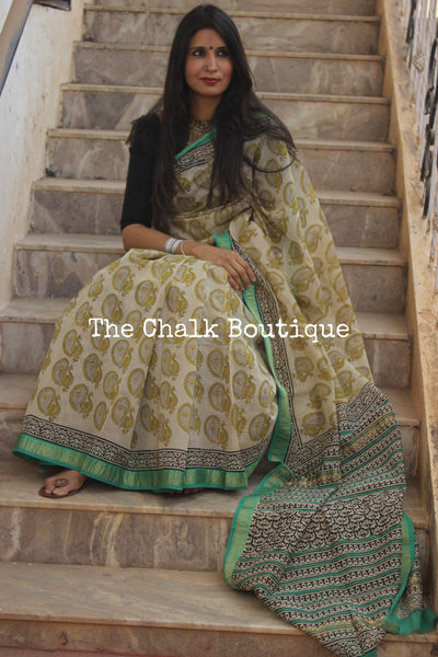 Beige and green Maheshwari silk hand block printed saree. TCB-MH7-SB1