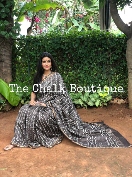 | Rocky Road | Grey Hand Block printed Chanderi Saree.
