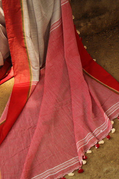 Grey Lightweight mulmul pure handloom cotton saree with contrast border.TCB-TEM4-JM-The Chalk Boutique