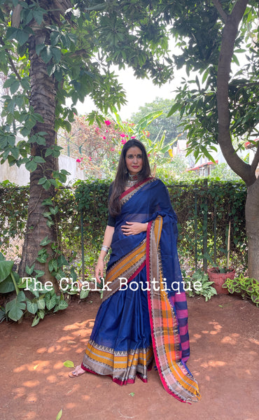 | Ruhaniyat | Blue Soft Cotton Saree With Contrast Broad Temple Style Border.