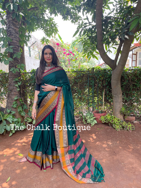 | Ooty | Green Soft Cotton Saree With Contrast Broad Temple Style Border.
