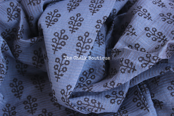 Blue Maheshwari silk hand block printed saree.