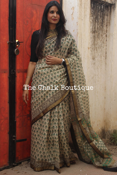 Beige and Green Maheshwari silk hand block printed saree. TCB-MH9-SB1