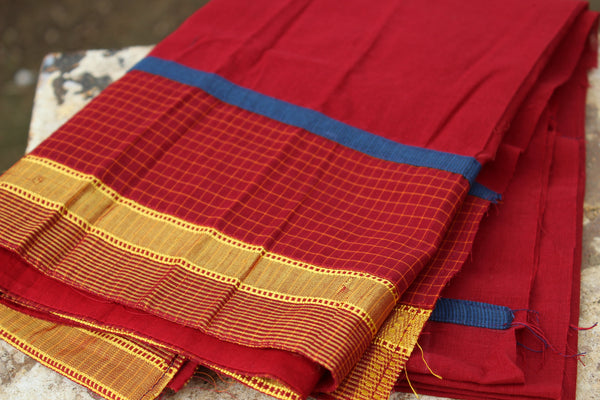 Maroon checked cotton saree with hand painted Kalamkari border. RK-DESIGN-2