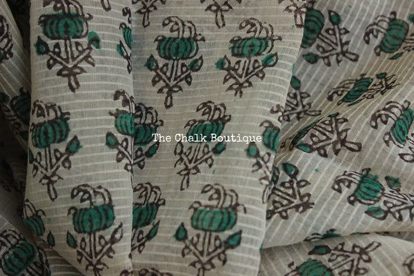Beige and Green Maheshwari silk hand block printed saree.