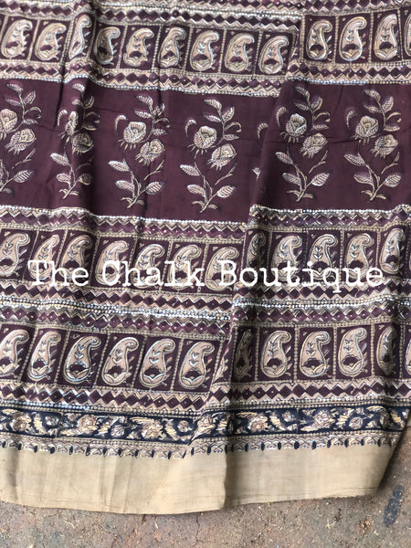 | Mitti | Brown Hand Block Printed mul mul cotton saree.