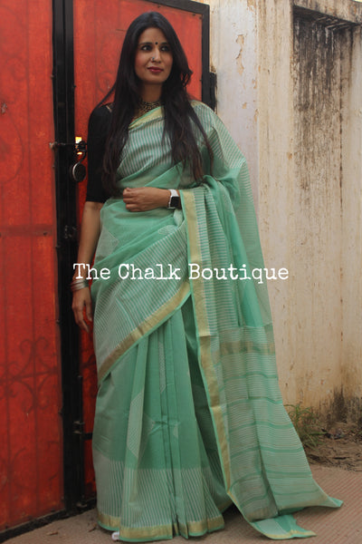 Sea Green Maheshwari silk hand block printed saree. TCB-MH10-SB1