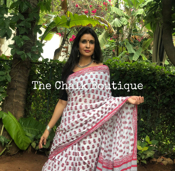 |Piya | White Hand Block Printed mul mul cotton saree.