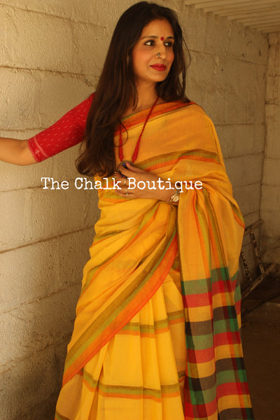 Yellow Stripes Cotton Saree with multicoloured Border and striped palla NF-KC9-C4