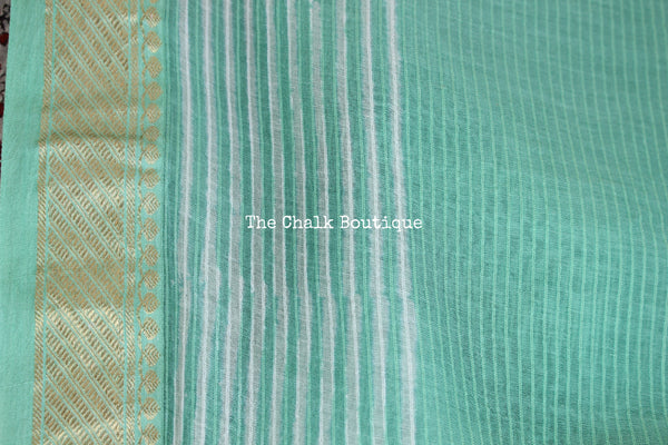 Sea Green Maheshwari silk hand block printed saree.
