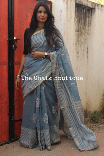 Steel Blue Maheshwari silk hand block printed saree. TCB-MH11-SB1