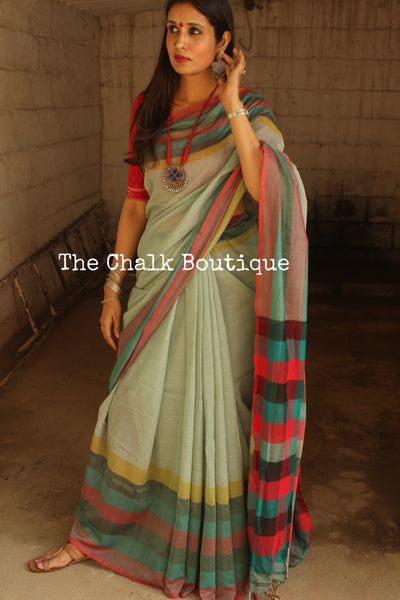 Light Green Cotton Saree With Multicoloured Border And Stripes Palla NF-KC4-C4