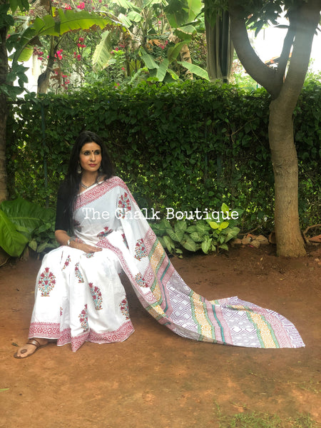 | Summer Holidays | White Hand Block Printed mul mul cotton saree.