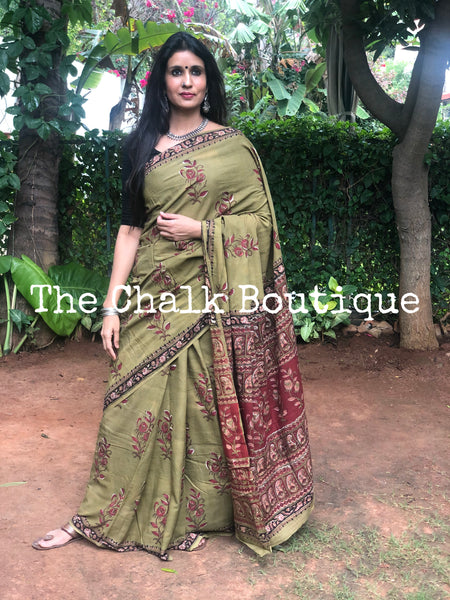 | Jungle | Green Hand Block Printed mul mul cotton saree.