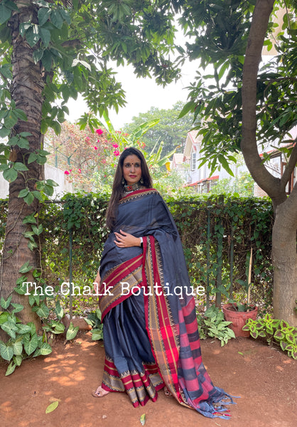 | Twirl | Grey Soft Cotton Saree With Contrast Broad Temple Style Border.