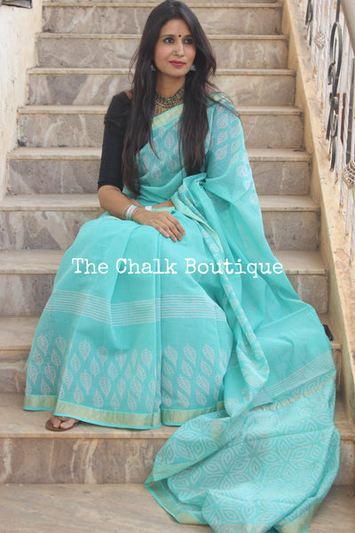 Sea Blue Maheshwari silk hand block printed saree. TCB-MH13-SB1