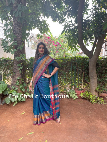 | Keya | Blue Soft Cotton Saree With Contrast Broad Temple Style Border.