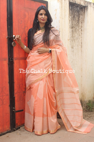 | Peach Bubbles | Peach Maheshwari silk hand block printed saree.