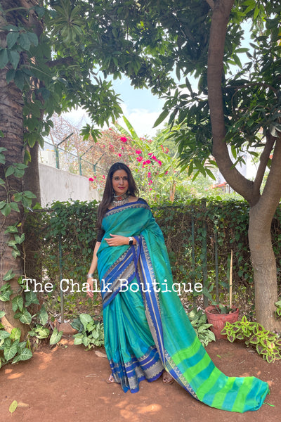 | Ganga | Blue Dhoop Chaav Soft Cotton Saree With Contrast Broad Temple Style Border.