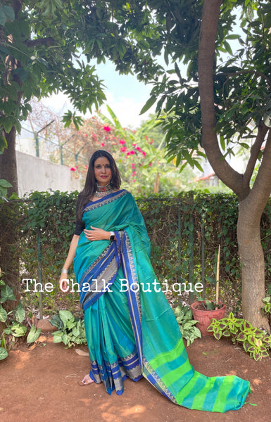 | Ganga | Sea Green Dhoop Chaav Soft Cotton Saree With Contrast Broad Temple Style Border.