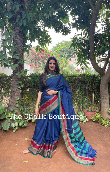 | Kasha | Blue Soft Cotton Saree With Contrast Broad Temple Style Border.