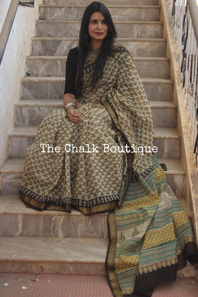 | Simple Life | Beige with Mustard Maheshwari silk hand block printed saree.