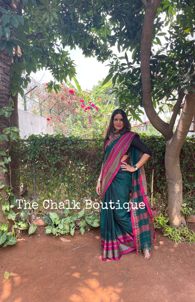 | Mehak | Green Soft Cotton Saree With Contrast Broad Temple Style Border.